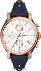 Zegarek FOSSIL Original Boyfriend Chronograph Navy Leather  ES3838