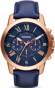 Zegarek FOSSIL Grant Chronograph Navy Leather FS4835