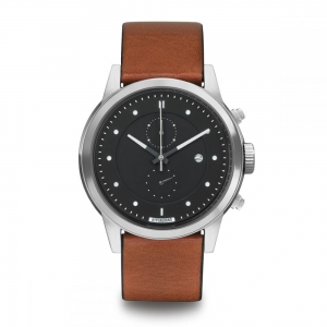 ZEGAREK HYPERGRAND MAVERICK Chrono Silver Black CLASSIC HONEY LEATHER