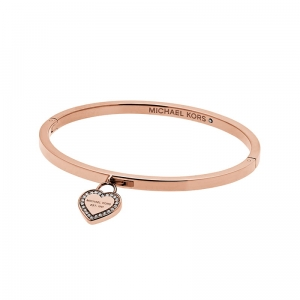 Bransoletka MICHAEL KORS Rose Gold-Tone Logo Heart Bangle MKJ5039791