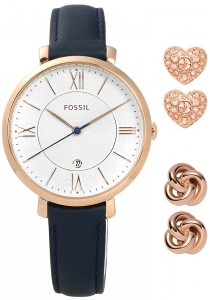 Zestaw Damski FOSSIL Jacqueline Three-Hand Date Blue Leather Watch And Earrings ES4140SET