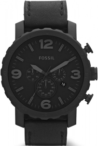 Zegarek FOSSIL Nate Chronograph Black Leather JR1354