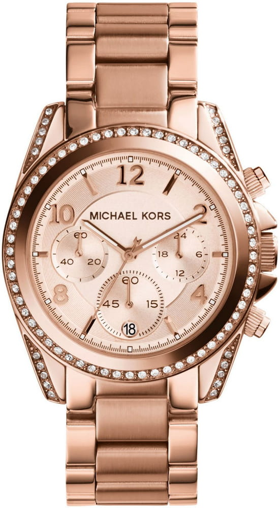 b771078f7052 Zegarek MICHAEL KORS Blair Rose Gold-Tone Stainless Steel Chronograph MK526  ...